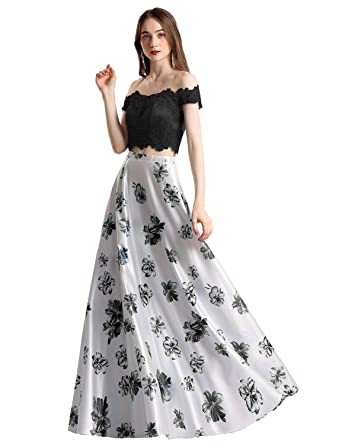 aca18b5446d YSMei Women s 2 Piece Floral Print Prom Cocktail Dress Long Party Gown  Black 2