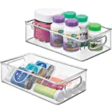 mDesign Stackable Plastic Storage Organizer Container Bin with Handles for Bathroom - Holds Vitamins, Pills, Supplements…