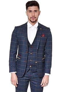Marc Darcy Mens Designer Slim Fit Navy Tweed Jacket Blazer with Multi Tonal  Herringbone… 66be0a377