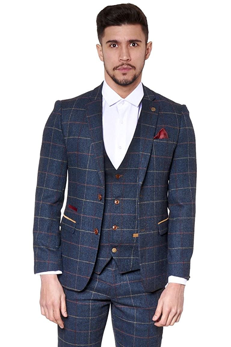 Marc Darcy Mens Designer Slim Fit Navy Tweed Jacket Blazer with Multi Tonal Herringbone Check Pattern   Casual Two Button Single Breasted   Ideal for Ascot and Evening Attire Parties Marc Darcy London ETON-BLAZER-NAVY