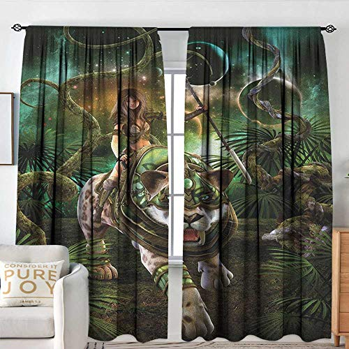 Print Pattern Curtains Fantasy World,Graphics of Fantasy Scene with Girl and Saber Tooth Tiger Magical Plants Galaxy, Green,for Room Darkening Panels for Living Room, Bedroom 54