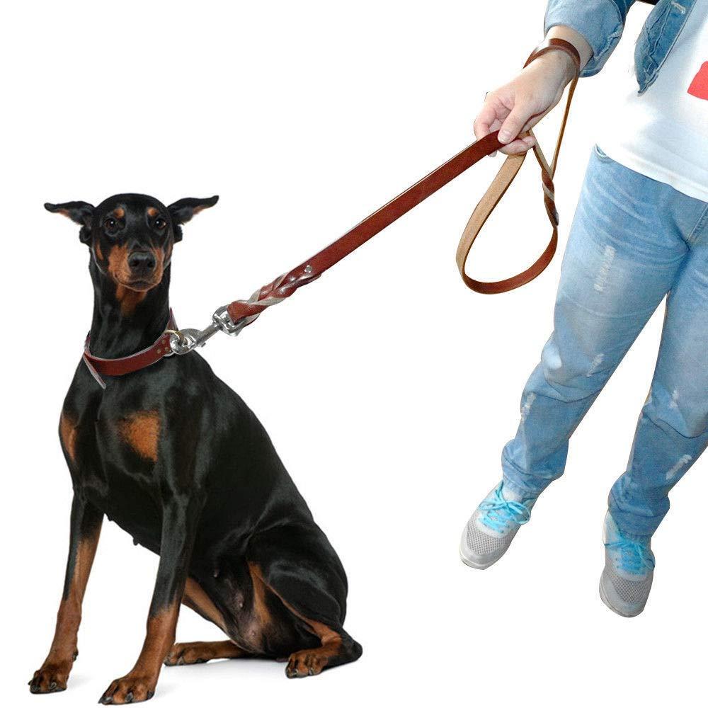 Heavy Duty Thicken Best Genuine Leather Dog Leads Pet Walking Braided
