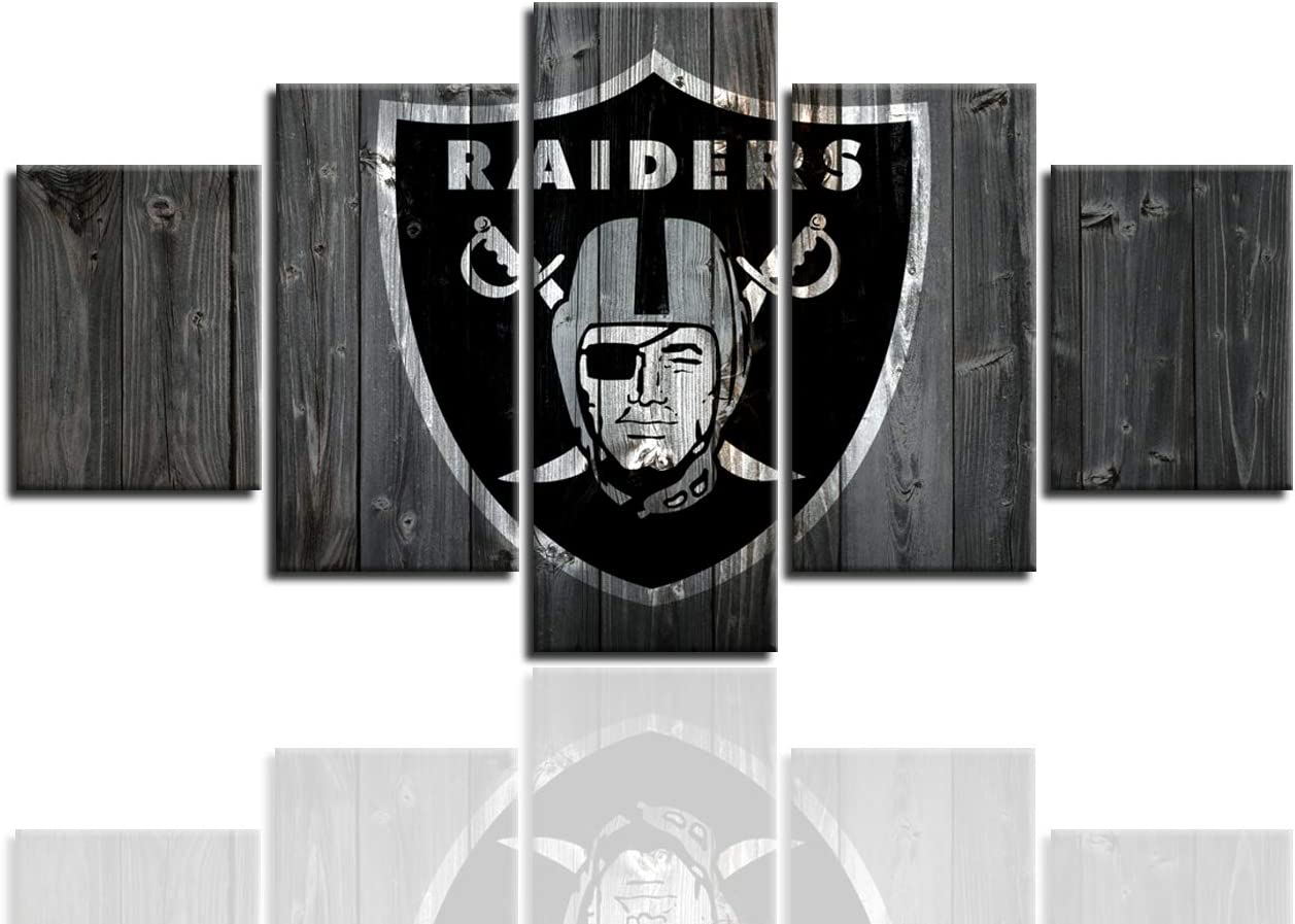 MIAUEN Oakland Raiders Posters for Wall 5 Piece Wall Art Painting Canvas Print Artwork Pictures Home Decor with Frame Ready to Hang(60''Wx32''H)