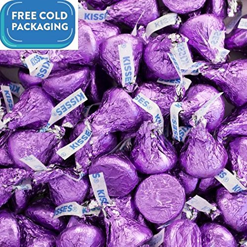 Milk Chocolate Hershey's Kisses Candy with Purple Foil 1lb bag