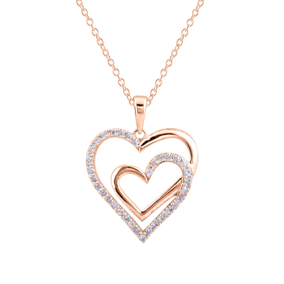 DiscountHouse4you 0.79 Ct Round White Cubic Zirconia Double Heart Pendant Necklace in 14k White Gold Over
