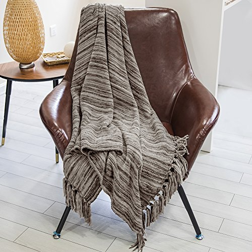 Dozzz Chenille Couch Throw With Decorative Fringe Comfy