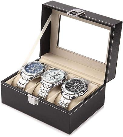 GOVD Caja Relojes Hombre Caja Joyero, Estuche para Relojes, PU Cuero - Color Negro B: Amazon.es: Hogar