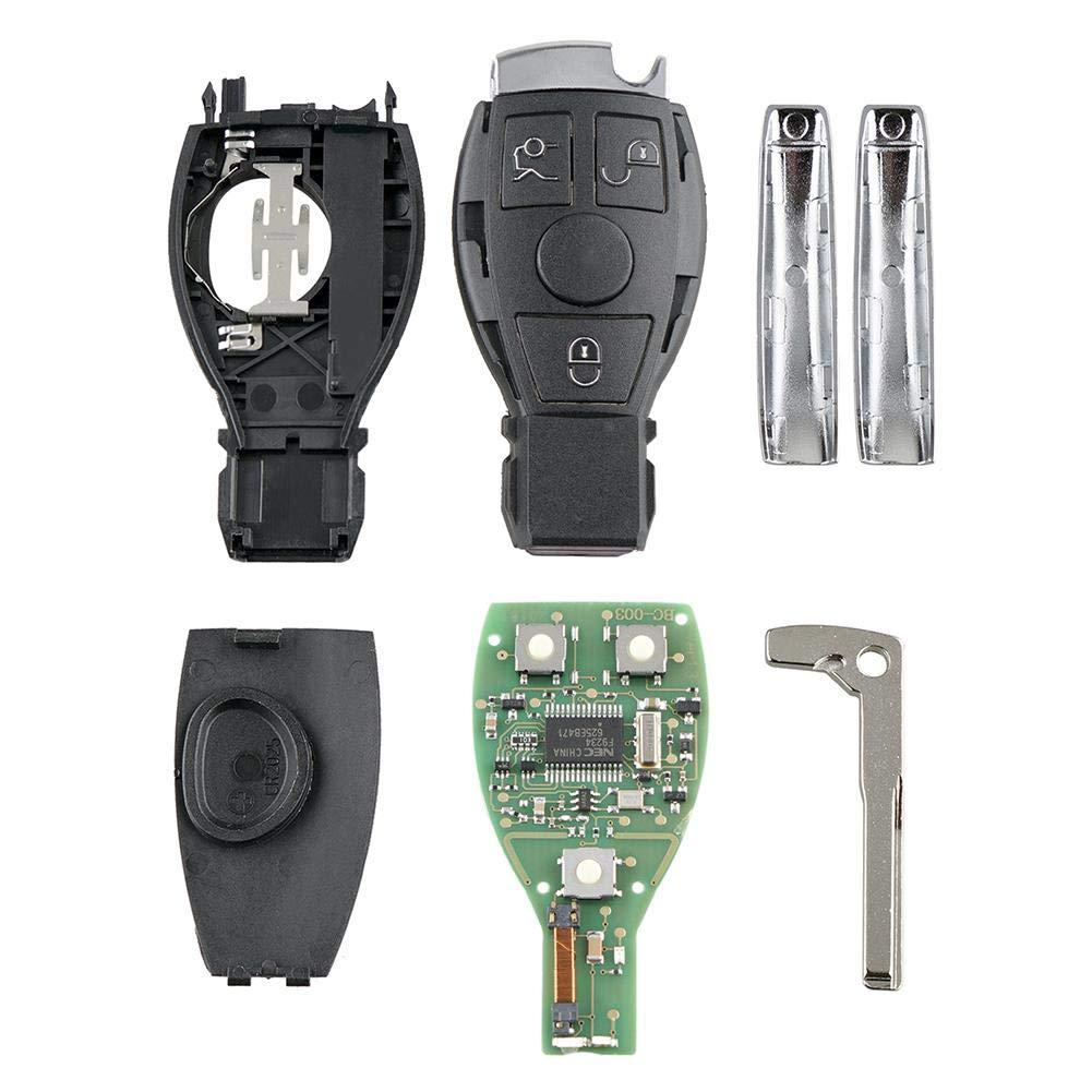 U-smile Car Remote Key,Automobile Locksmith Quality Keyless Entry 3 Buttons Flip Key Fob Case with Uncut Key Blade Fob Replacement Key for Mercedes Benz NEC BGA Control Key