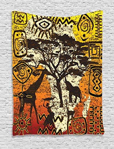Ambesonne African Decorations Collection, African Animals in Safari Theme Ancient Cultral Ethnic Art Grunge Style Bohemian House Decor, Bedroom Living Room Dorm Wall Hanging Tapestry,