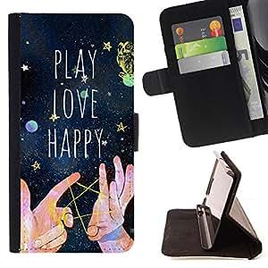 Dragon Case - FOR Sony Xperia Z1 L39 - play love happy - Caja de la carpeta del caso en folio de cuero del tirš®n de la cubierta protectora Shell