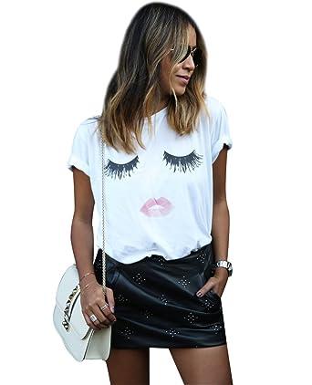 1f4844b9c88b Femme T Shirt Loose Tee Shirt Col Rond Manche Courte Cil Lèvres Imprimé Femme  T-Shirt Large Ample Top Chic Haut Fantaisie Blouse Tee Shirt Manches  Courtes ...