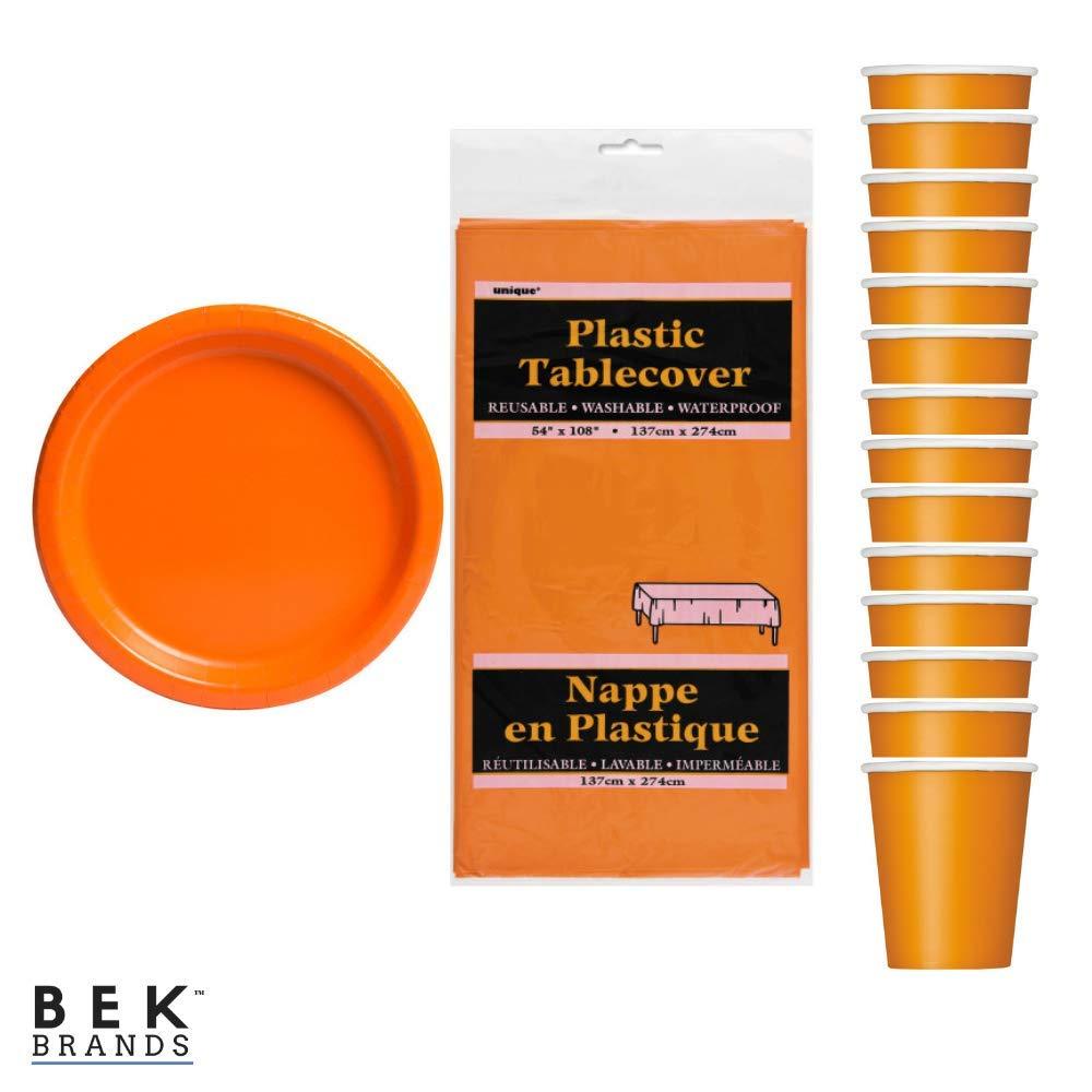 31 pcs! Bek Brands Pumpkin Orange Party Bundle Tableware Solid Color Plates Cups and Tablecover