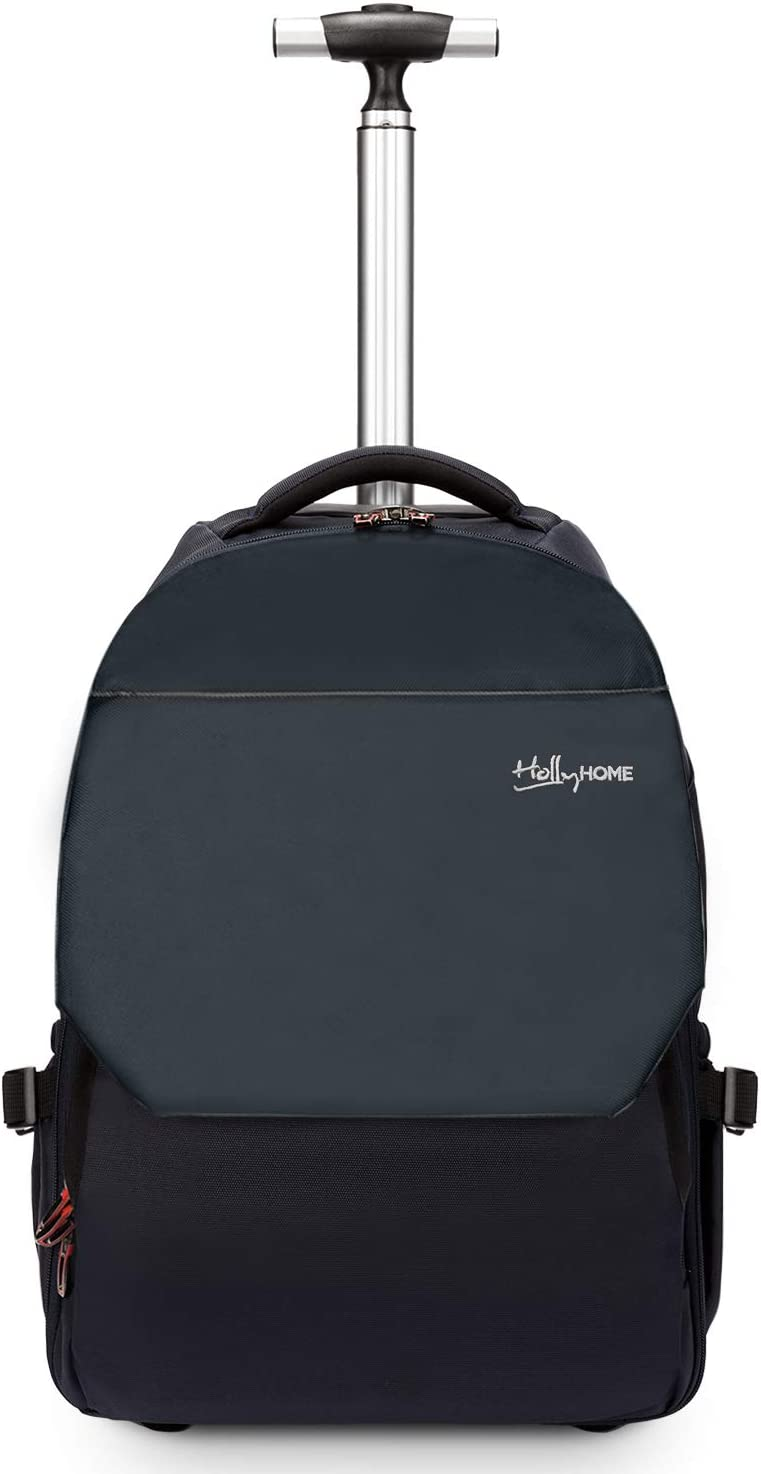 19 inches Large Storage Multifunction Travel Laptop Wheeled Rolling Backpack by HollyHOME, Blue