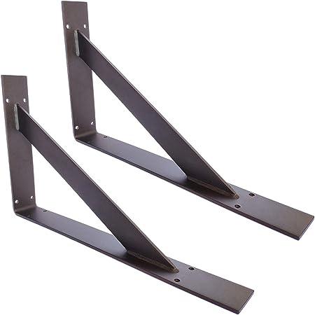 6 Piezas escuadras para estanterias Metal OWUV Soporte tri/ángulo de Pared Soporte de /ángulo Estantes Escuadras de Hierro Forjado de 90 Grados-Blanco//Negro