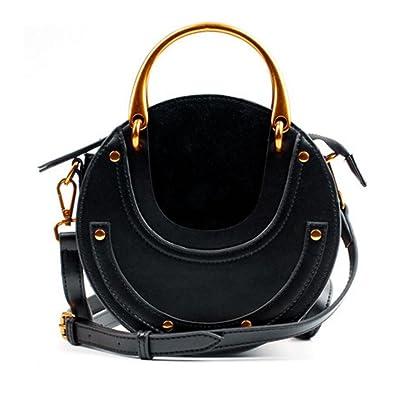 Actlure Women Genuine Cowhide Leather Round Shape Top handle Shoulder Purse  Crossbody Bag (black)