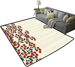 Nature Children Crawling Bedroom Rug Red Clusterberries in Bush Leaves Garden Christmas Theme Image Print Gifts for Men Olive Green Red and Peach, 5'x 6'(150x180cm)