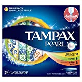 Tampax Pearl Plastic Tampons, Regular/Super/Super Plus Absorbency Multipack, Unscented, 34 Count - Pack of 6 (204 Total Count)