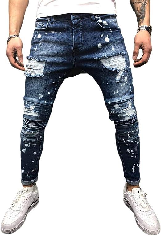 Lelloing Pantalones Vaqueros Elasticos Para Hombre Estilo Casual Color Solido Ajustados Rotos En La Rodilla Amazon Com Mx Ropa Zapatos Y Accesorios