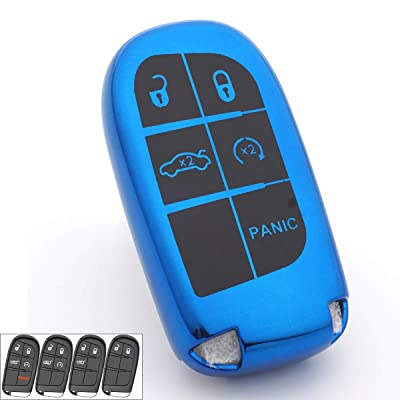 Royalfox 3 4 5 Buttons TPU Smart Remote Key Fob case Full Cover for Chrysler 300 200 Dodge Charger Challenger Dart Durango Journey,Jeep Grand Cherokee Renegade Fiat Freemont (Blue)