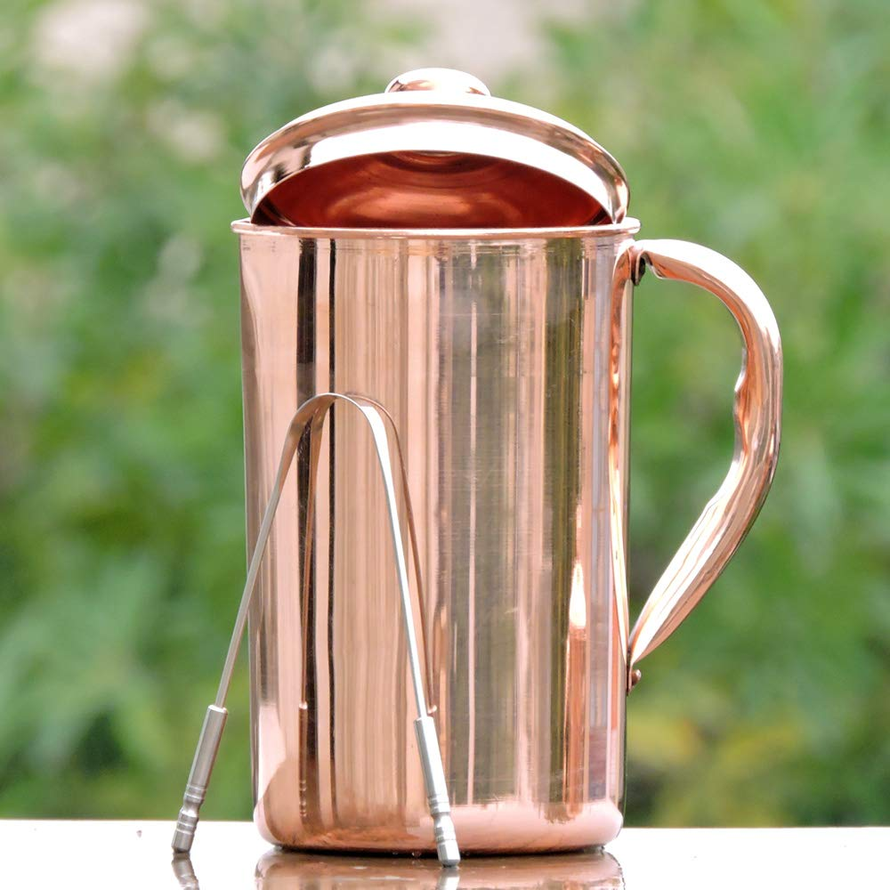 Jarra de agua HealthGoodsEU hecha de cobre puro, jarra de cobre para Ayurveda: Amazon.es: Hogar
