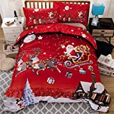 Youareking Merry Christmas 3 Pieces Duvet Covers Set with 2 Shams, Santa Claus Pattern Bedding Cover Set (Queen)