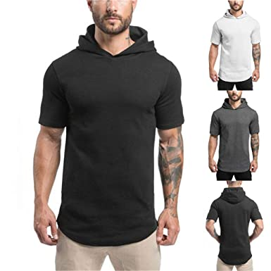 Mens Casual Solid Sweatshirts Hooded T-shirt Sports Short-sleeve Pullovers Tops