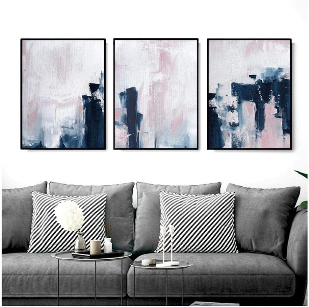 Amazon Com Scandinavian Style Pink Navy Blue Wall Art Abstract Canvas Poster Minimalist Print Painting Modern Wall Pictures Decoration 50x70cmx3pcs No Frame Posters Prints