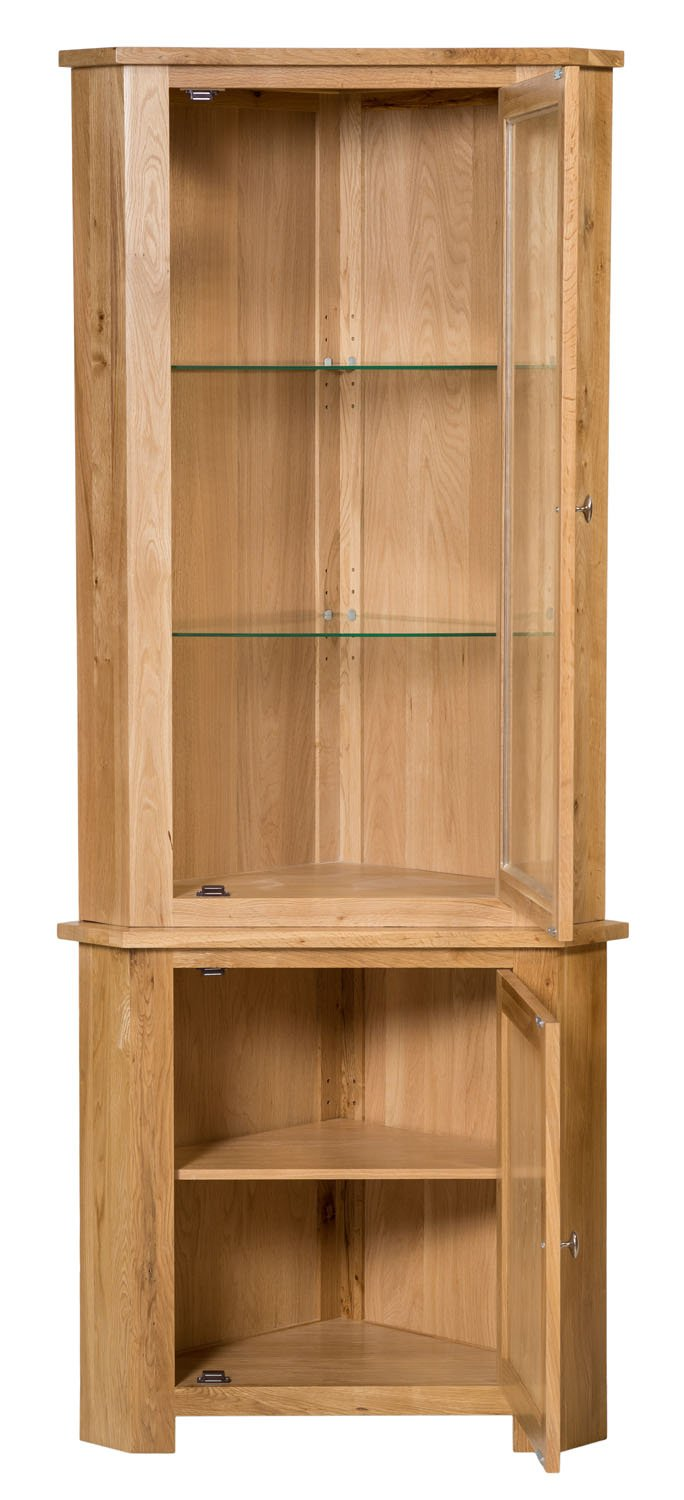 Waverly Oak Small Corner Cabinet Top In Light Oak Finish | Low Storage  Cupboard With Glass Shelf U0026 Glass Door| Solid Wooden Unit: Amazon.co.uk:  Kitchen U0026 ...