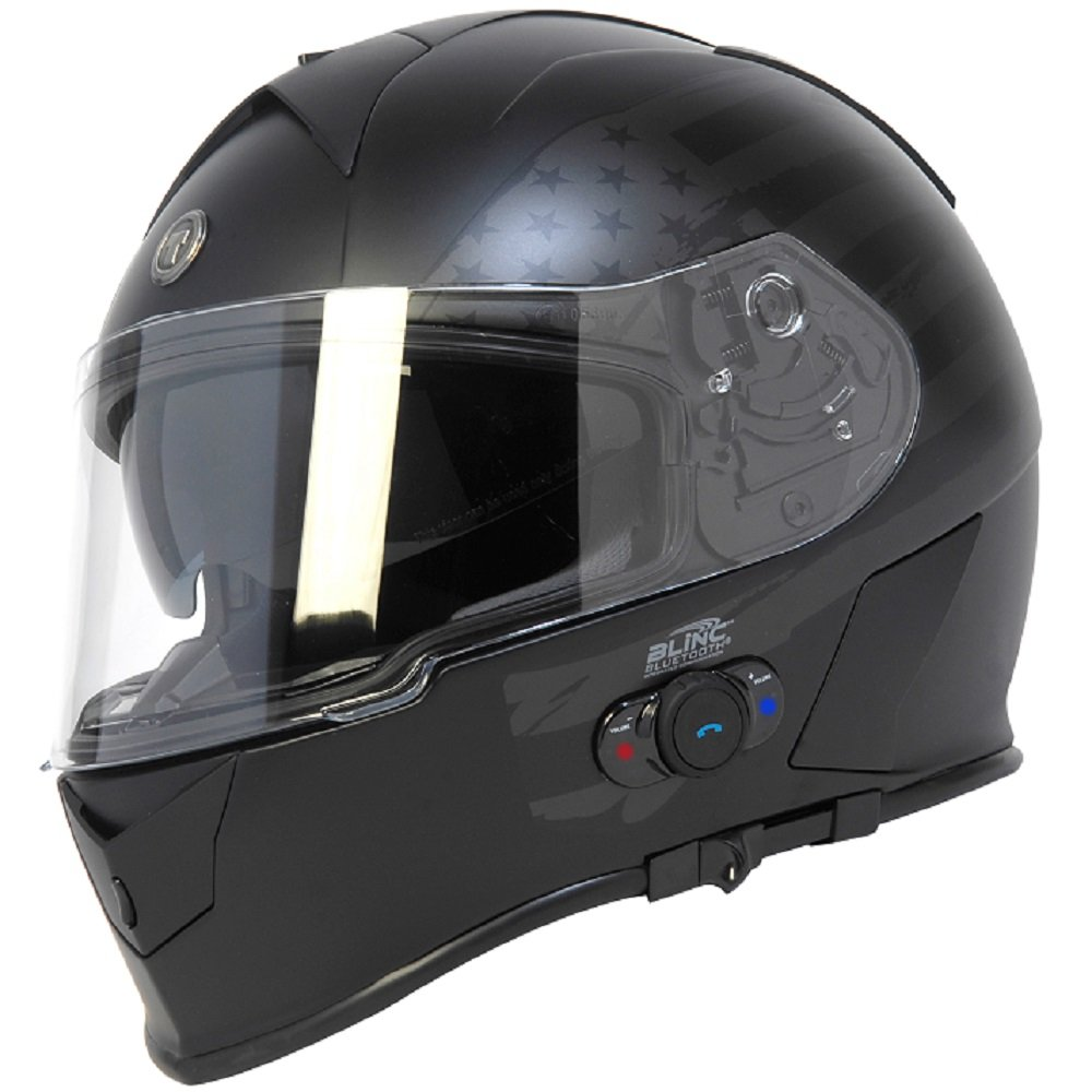 Torc T14B Bluetooth Integrated Mako Full Face Helmet with Flag Graphic (Flat Black, X-Small)