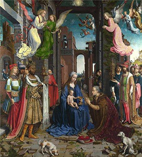 のポリエステルキャンバス地の油絵Jan Gossaert The Adoration of the Kings」、サイズ: 10x 11インチ/ 25x 28cm、このが安いアート装飾ホームギャラリーアートとギフト、アート装飾プリントキャンバスは、フィットの子供部屋装飾の商品画像