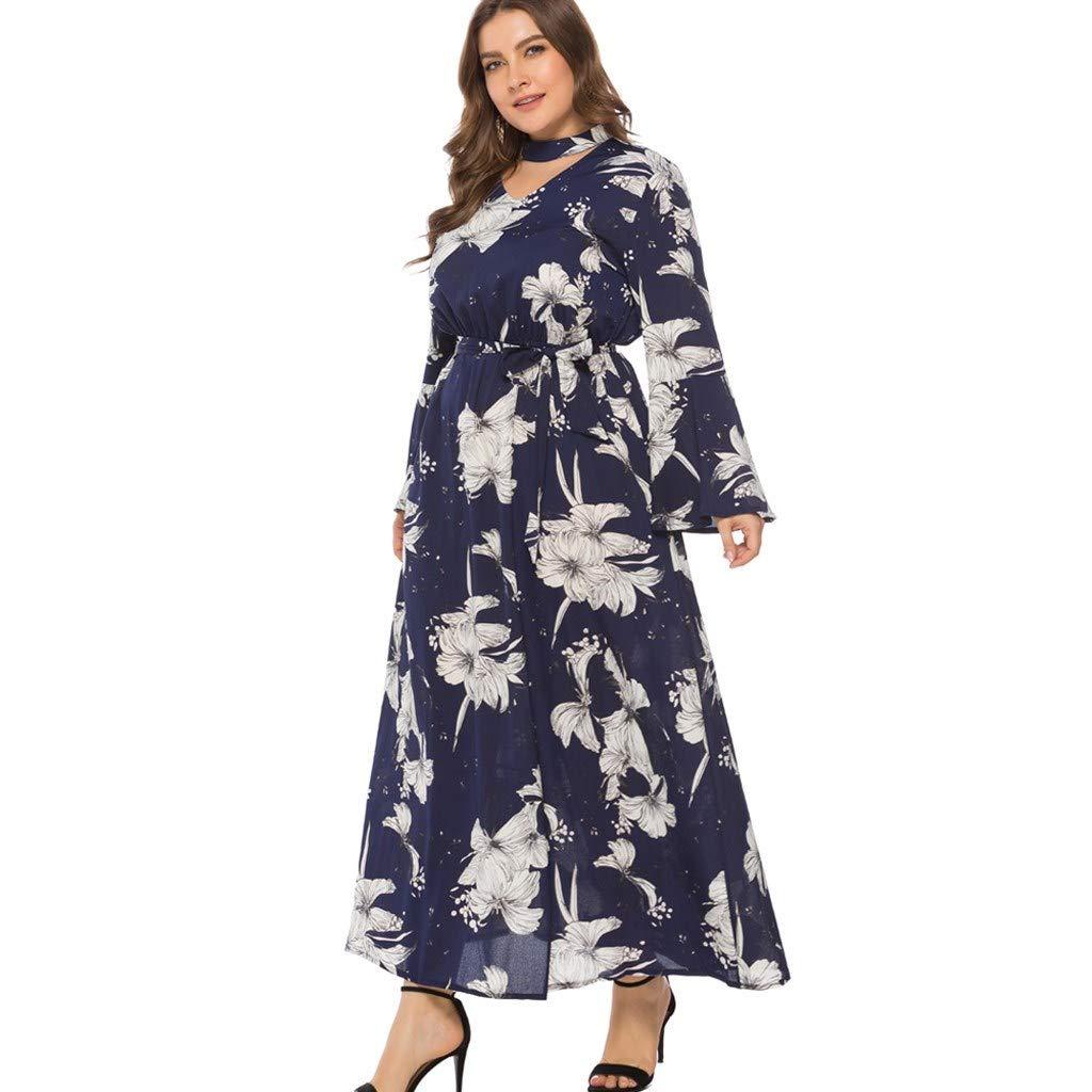 Boho Gown Dresses for Women Floral Flare Long Sleeve Plus Size Maxi Dress High Waisted Sundress Beach Wedding Dresses