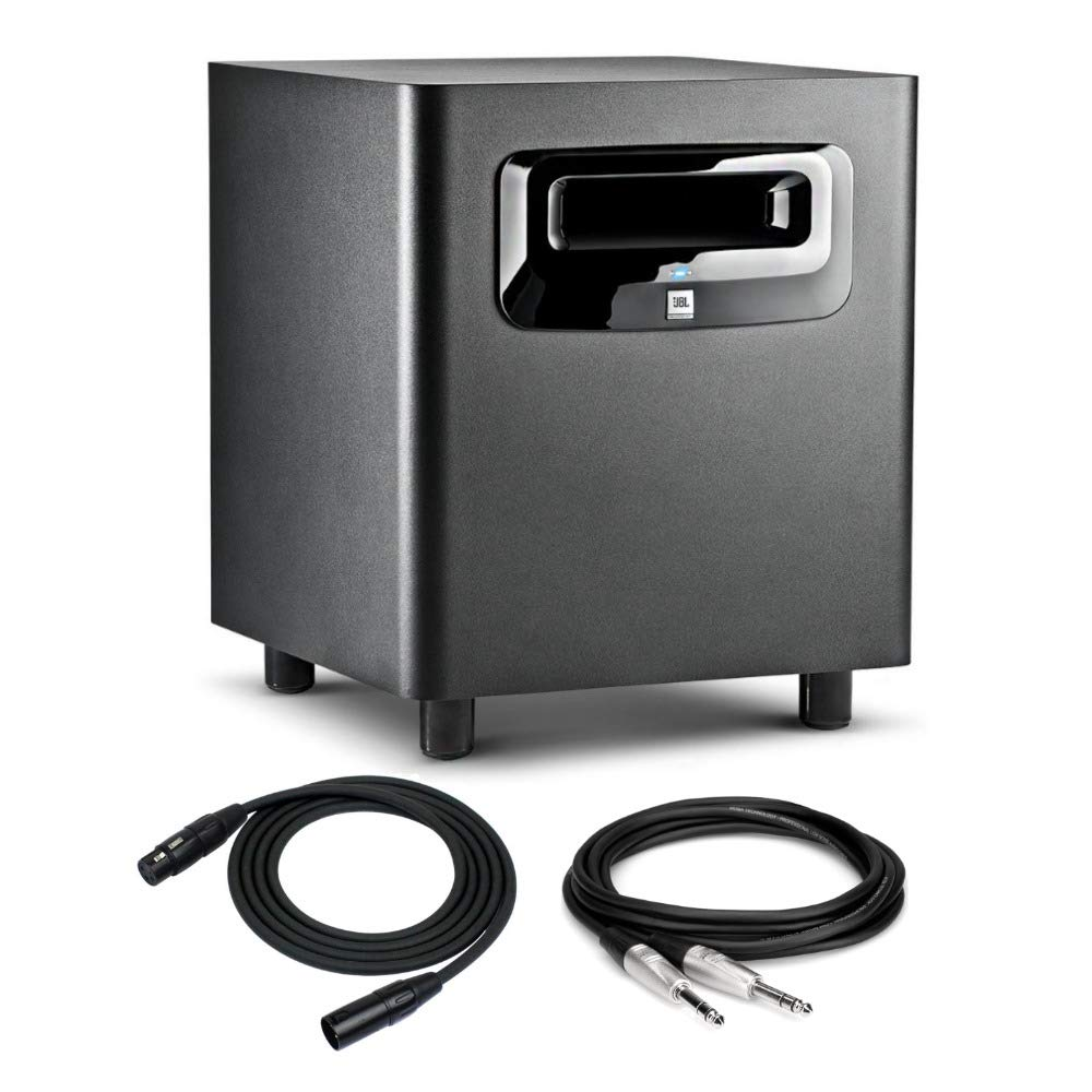 JBL LSR310S 10'' Powered Studio Subwoofer with XLF Bundled with 2 TRS and 2 XLR Cables (5 Items)