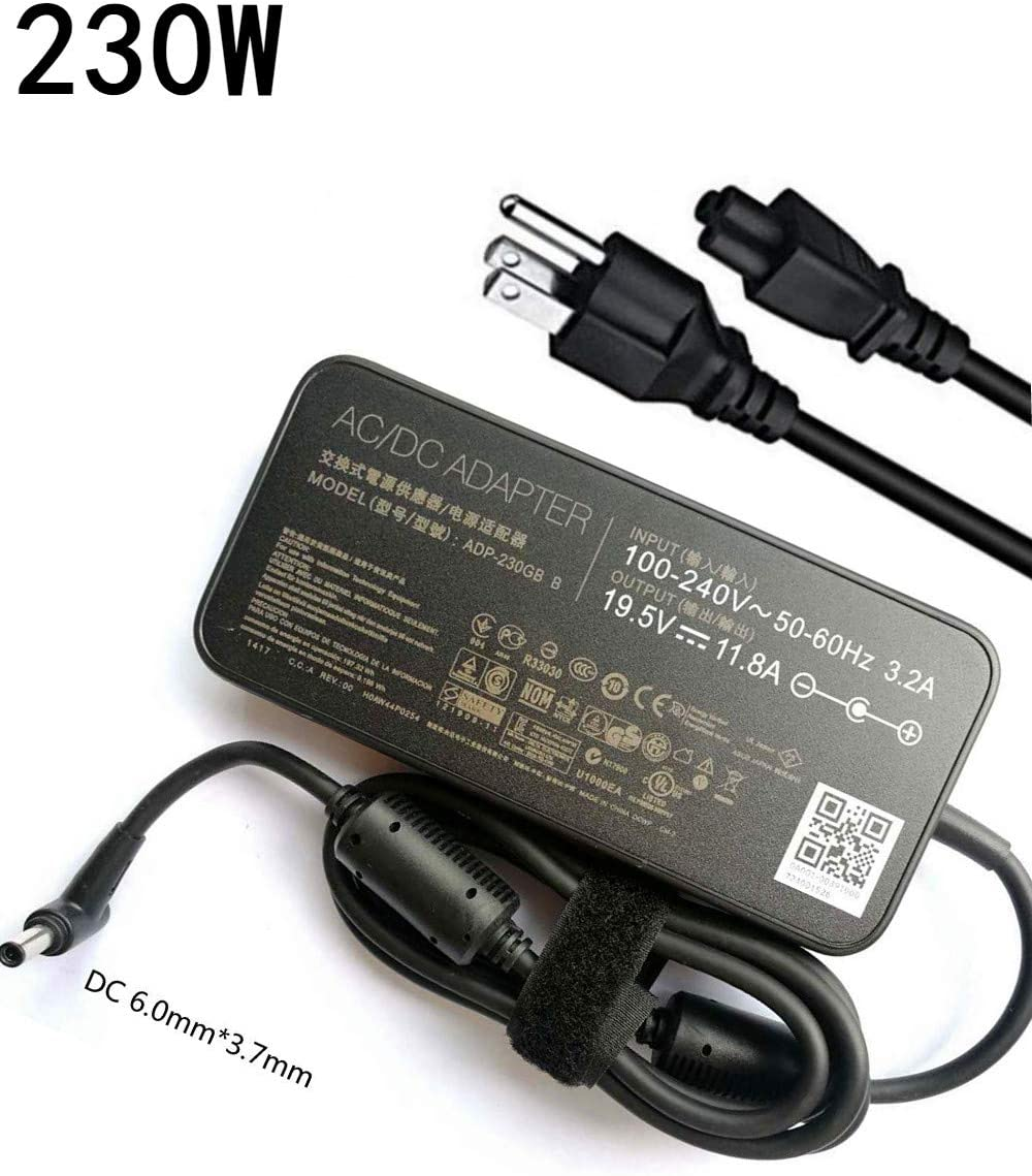 New Slim AC 230W Charger for Asus ROG Zephyrus GX501 GL703 GX701 2S 3S GL504GS GM501 GX501VI GX501VI-XS75 GX501VI-XS74 GX501VI-GZ027T GX501VI-GZ043T GX501VI-GZ038T Laptop Power Supply Adapter Cord