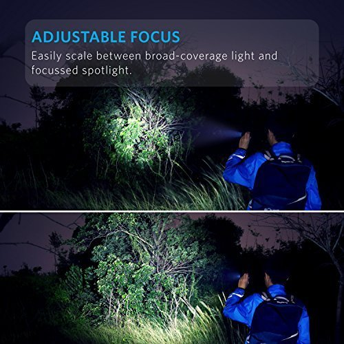 Anker AK-T1420011 Super Bright Tactical Flashlight, Rechargeable (18650 Battery Included), Zoomable IP65 Water-Resistant, 900 Lumens CREE LED, 5 Light Modes for Camping and Hiking, Bolder LC90 by Anker (Image #2)