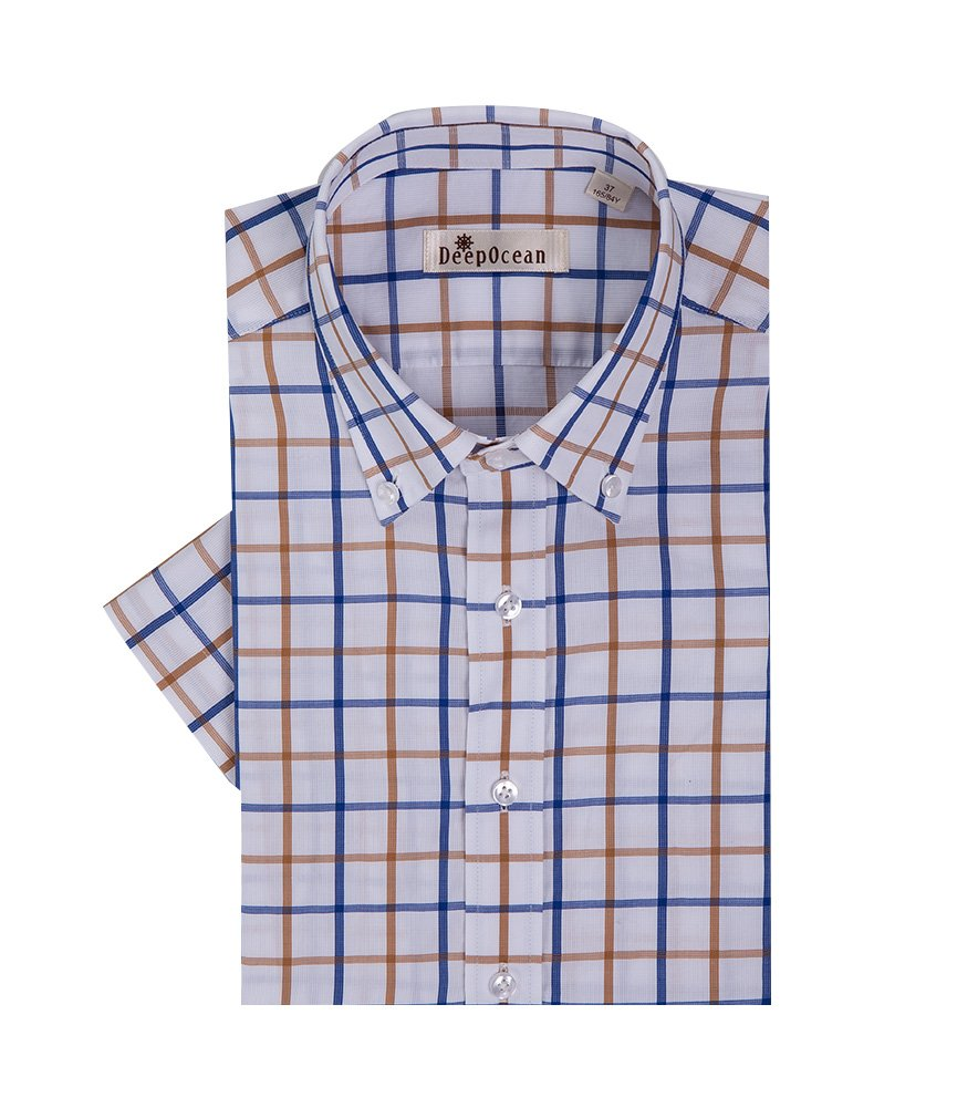 Mojessy Mens 100% Cotton Dress Shirts Plaid Short Sleeve Non-Iron Button Down Collar Yellow&Blue Medium