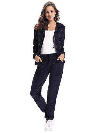 a7db24d04b9 Abollria Survêtement Femme Ensembles Sportswear Sweat Capuche Suit Zipper  Pull à Capuche avec Poches Casual Jogging