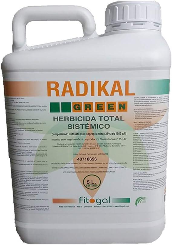 Fitogal Radikal Green Ultra Plus. Envase 5 L. Herbicida de acción total sistémico no Residual para el control de malezas. Glifosato concentrado 36%. Post emergencia.: Amazon.es: Jardín