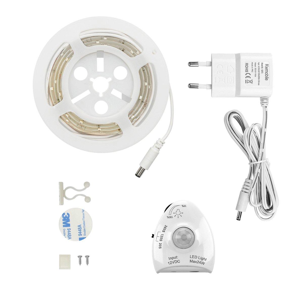 kwmobile Luz LED para cama con sensor - Tira de luz regulable - Cinta de luces con sensor de movimiento - Iluminación en blanco cálido: Amazon.es: ...