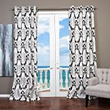 Lambrequin Arabella Flocked Curtain Panel White 54 x 108 108 Inches