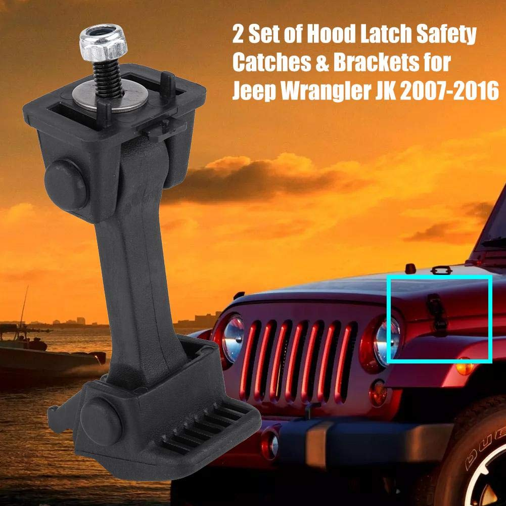 Terisass 55395653AF 2 Set of Hood Latch Safety Catches /& Brackets for Jeep Wrangler JK 2007 2008 2009 2010 2011 2012 2013 2014 2015 2016