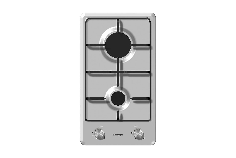 PIANO COTTURA TECNOGAS F32VX INOX 2 FUOCHI COM. FRONTALI 30 CM ...