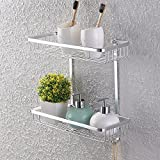 KES A4026 Aluminum Bathroom 2-Tier Shelf Basket Wall Mounted, Silver Sand-Sprayed