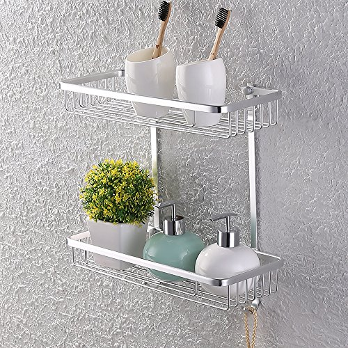 - KES A4026 Aluminum Bathroom 2-Tier Shelf Basket Wall Mounted, Silver Sand-Sprayed