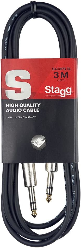 Stagg SAC3PS DL - Cable para instrumentos (simétrico, 3 m) color negro