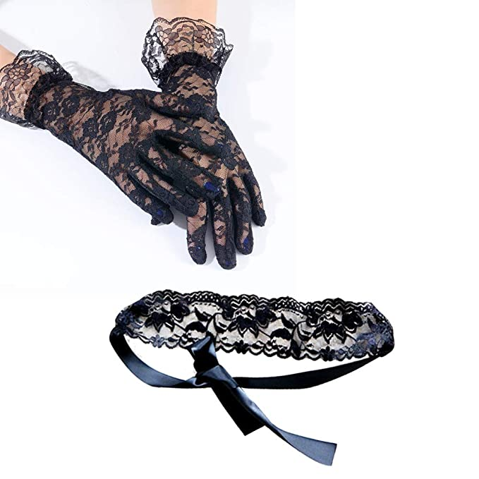 Image Unavailable. Image not available for. Color  Black Lace Sexy Pattern  Gloves Blindfold Eye Mask Set Lingerie Accessories 9d13925b81