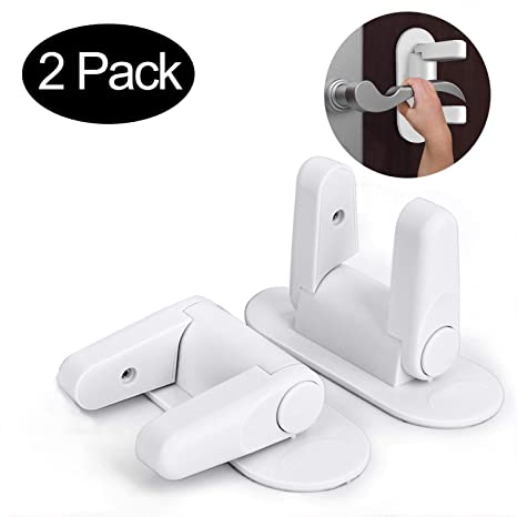 V-MORO Door Lever Lock Child//Pets Proof Door Handle Lock with 3M Strong Adhesive Child Safety Door Lock Pack of 2