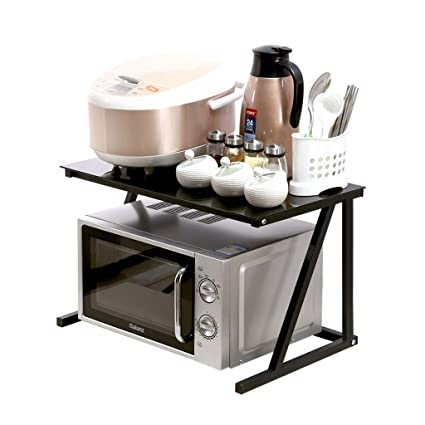 Estante de cristal negro para encimera, cocina, microondas ...