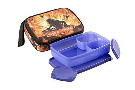 Signoraware Rock DJ Compact Lunch Box with Bag Set, 3 Pieces, Deep Violet Lunch Boxes