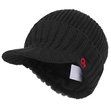 5dcfe752918 Janey Rubbins Winter Peaked Beanie Knit Visor Hat Fleece Lined Ski Cap  (Black)(Size