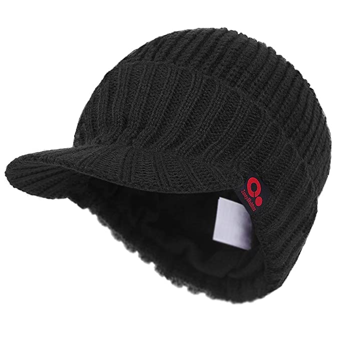 e1e7c854ff32d2 Janey&Rubbins Visor Beanie Winter Hats for Men Women Billed Beanie Fleece  Lined Knit Ski Skull Cap